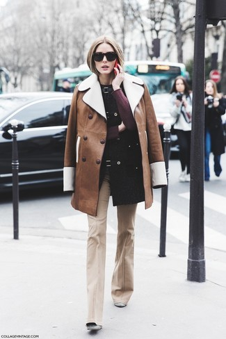 How to Wear Grey Suede Ankle Boots: If the situation calls for an elegant yet cool look, pair a brown shearling coat with beige flare pants. Complement this look with grey suede ankle boots and off you go looking stunning.