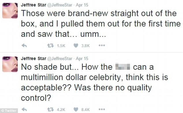 Beauty vlogger Jeffree Star was among the first to complain on Twitter, and many others followed suit