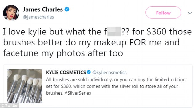 Magic: Social media sensation James Charles told fans he expected the brushes to be able to