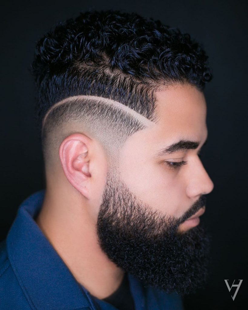 drop fade and curly hair
